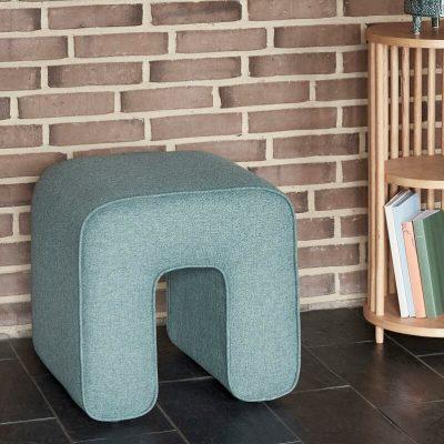 HUBSCH INTERIOR - Groene hocker, poef van duurzaam polyester - 101203