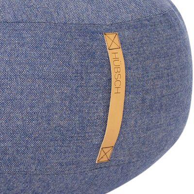 HUBSCH INTERIOR - Grote poef van wol jeansblauw, visgraat motief - 700801