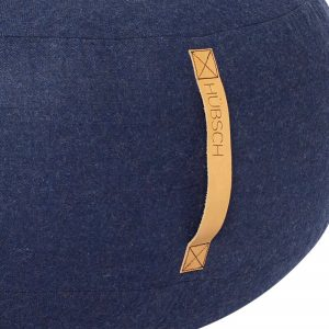 HUBSCH INTERIOR - Grote ronde donkerblauwe POEF van wol - 700807