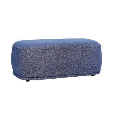 HUBSCH INTERIOR - Jeansblauwe poef van duurzaam polyester - 021210