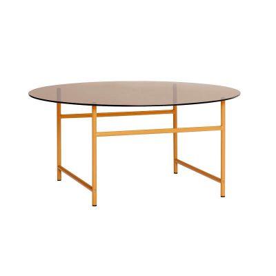 Hubsch Interior - Oranje salontafel van metaal met amber glazen blad - 021214