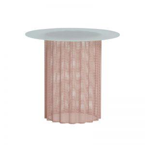 Hubsch Interior - Roze bijzettafel blad van melkglas, geperforeerd metaal - 991102