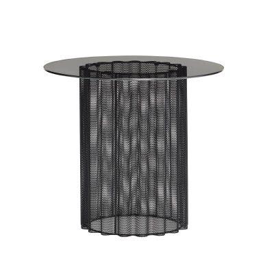 Hubsch Interior - Zwarte bijzettafel met glazen blad, geperforeerd metaal - 991103