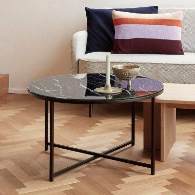 Hubsch Interior - Zwarte salontafel met glazen blad, marmerlook - 021118