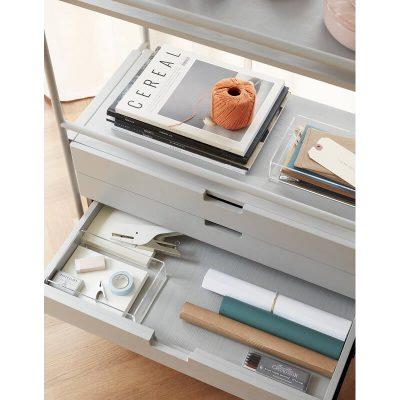 HUBSCH INTERIOR - Grijs metalen boekenkast, legplankensysteem met lades - 021115
