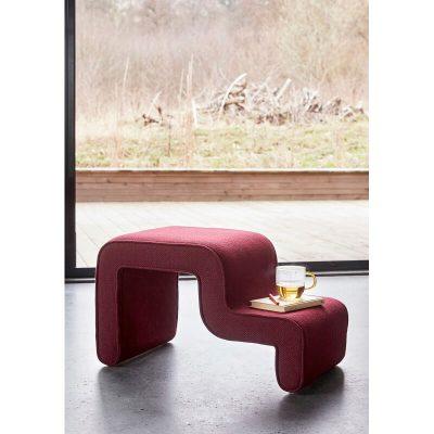 Hubsch Interior - Bordeaux rood bankje van stof -100905