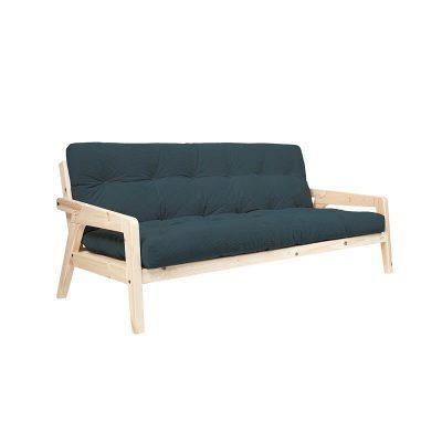 KARUP Design - GRAB bedbank, slaapbank van FSC grenen en Corduroy - Naturel-Blauw