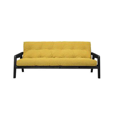 KARUP Design - GRAB slaapbank van Zwart FSC grenen en Geel Corduroy