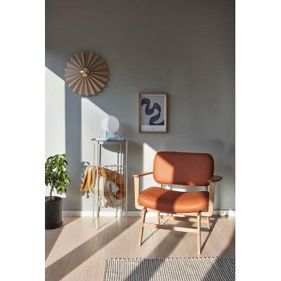HUBSCH INTERIOR - FSC® Eiken loungestoel met bruine bekleding OEKO-TEX® - 021125