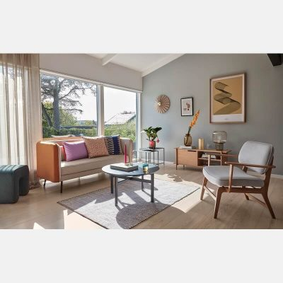 HUBSCH INTERIOR - FSC® Eiken loungestoel met lichtgrijze bekleding OEKO-TEX - 021126