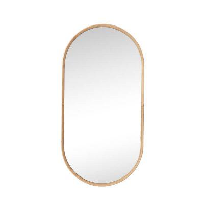 HUBSCH INTERIOR - Grote ovale spiegel van bamboe - 241204