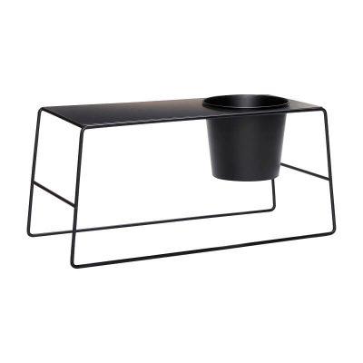 HUBSCH INTERIOR - Zwarte bijzettafel met bloempot - 020707