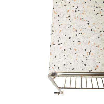 Hubsch Interior - Vernikkeld metalen trolley met terrazzo blad en zwenkwielen - 021309