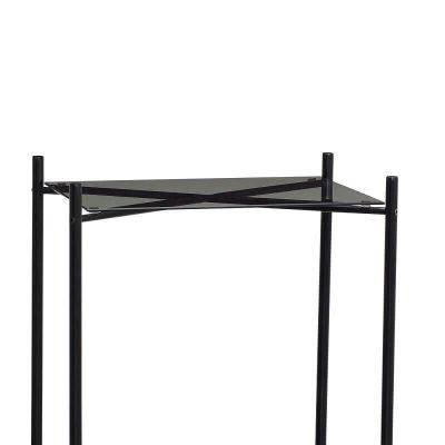 Hubsch Interior - Zwarte consoletafel met een blad van glas en marmer - 020806
