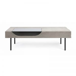 Lyon Béton CURB - Rechthoekige betonnen salontafel met zwart metalen pootjes - 10013