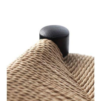 FDB Møbler - J164B - Zwarte barkruk van FSC® eiken, gevlochten paper cord zitting