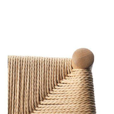 FDB Møbler - J164C - FSC® eiken barkruk met een gevlochten paper cord zitting