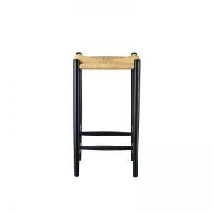 FDB Møbler - J164C - Zwarte barkruk van FSC® eiken, gevlochten paper cord zitting