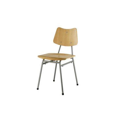 FDB Møbler - J173 Schoolstoel van FSC® eiken met metalen poten - Naturel-Grijs