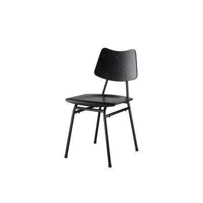 FDB Møbler - J173 Schoolstoel van FSC® eiken met metalen poten - Zwart-Zwart