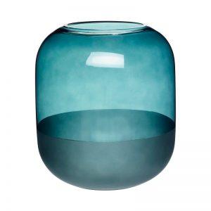 HUBSCH INTERIOR - Vaas van blauwgroen glas, melkglas - 660806