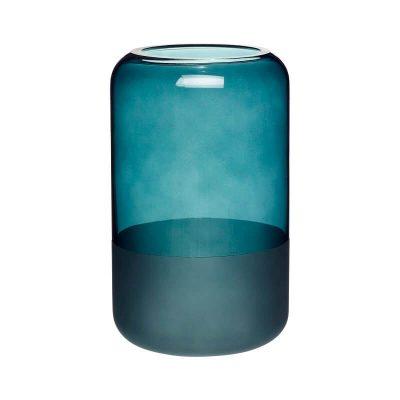 HUBSCH INTERIOR - Vaas van blauwgroen glas, melkglas - 660807