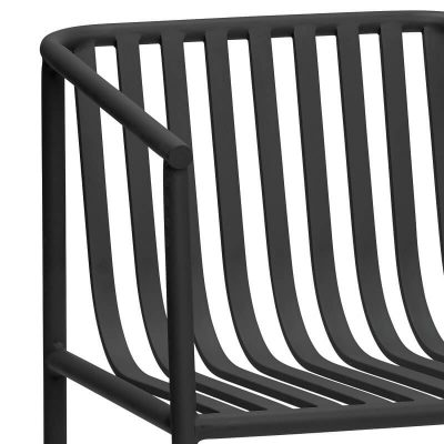 HUBSCH INTERIOR - Zwarte tuinstoel, terrasstoel van metaal - 991217