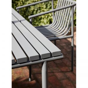 HUBSCH INTERIOR - Grote rechthoekige grijze tuintafel van metaal - 990943