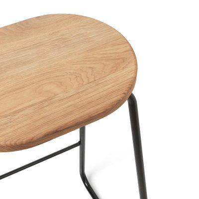 MATER Design EARTH STOOL - Industriële barkruk FSC eiken zitting - 06040