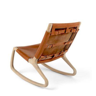 MATER Design ROCKER - Mat naturel FSC® eiken schommelstoel met leer bekleed - 07010