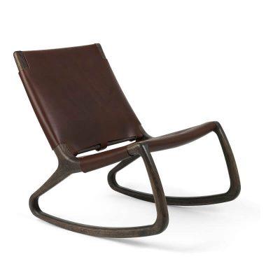 MATER Design ROCKER - Sirka grijs FSC® eiken schommelstoel met leer bekleed - 07011