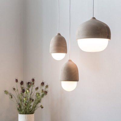 MATER Design TERHO - Houten hanglamp met een kap van opaalglas - Small Medium Large