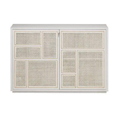 DESIGN HOUSE STOCKHOLM - AIR wit eiken dressoir gecombineerd met rotan