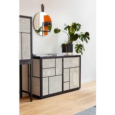 DESIGN HOUSE STOCKHOLM - AIR zwart eiken dressoir gecombineerd met rotan