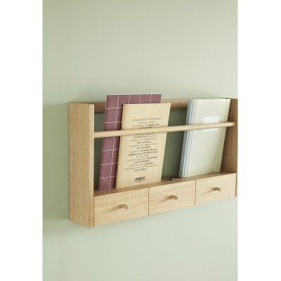 HUBSCH INTERIOR - FSC® eiken houten tijdschriftenrek met 3 opberglaadjes - 881305