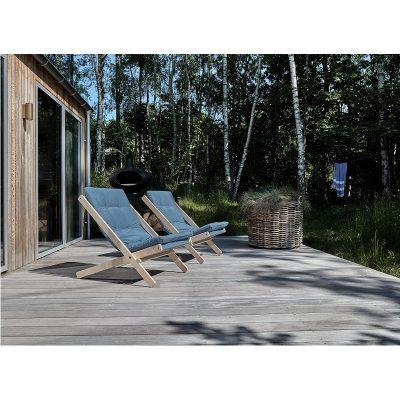 KARUP Design - BOOGIE RAW Loungestoel van naturel beukenhout FSC®- Lichtblauw