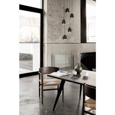 MATER Design TERHO Small - Zwart houten hanglamp met een kap van glas - 02311