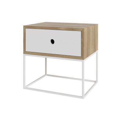 take me HOME. - ARSEN - Modern nachtkastje met een metalen frame - Wit-Eiken