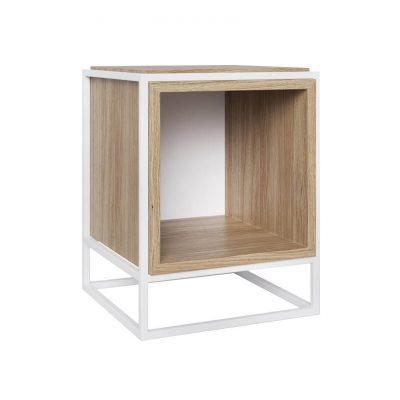 take me HOME. - BOXER - Modern nachtkastje met een metalen frame, kubus - Wit-Eiken