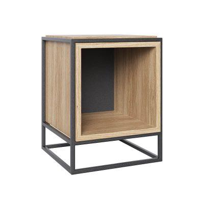 take me HOME. - BOXER - Modern nachtkastje met een metalen frame, kubus - Zwart-Eiken