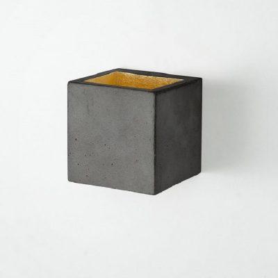 GANTlights B9 - Donkergrijs betonnen wandlamp - goud