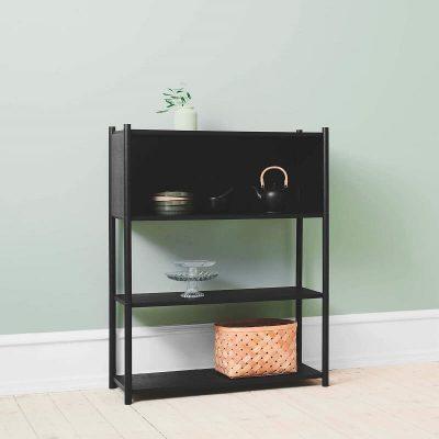 GEJST - SCEENE B - Zwart eiken wandkast, boekenrek, tv-meubel