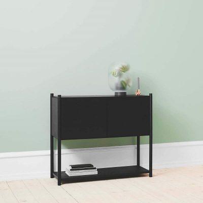 GEJST SCEENE C - Zwart eiken Wandkast Boekenrek TV-meubel