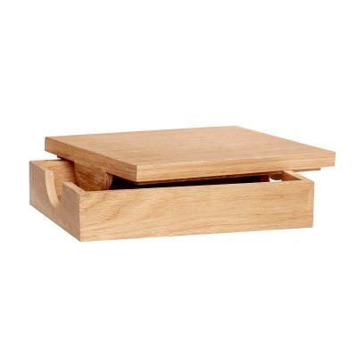 HÜBSCH INTERIOR - FSC® eiken houten opbergbox met deksel - 881213