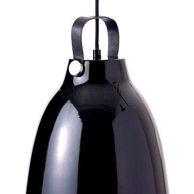 DYBERG LARSEN – COPENHAGEN hoogglans zwarte hanglamp van metaal – d19.5 of 26.5 cm