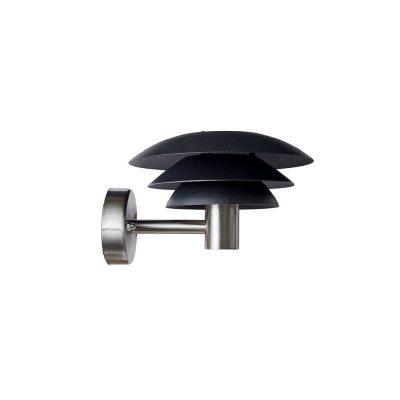 DYBERG LARSEN - DL20 OUTDOOR zwarte wandlamp voor buiten in RVS d20 - 1022