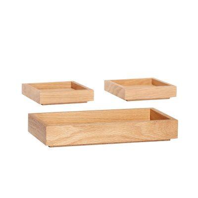 FSC® eiken houten opbergbox met drie opbergbakjes - 881217