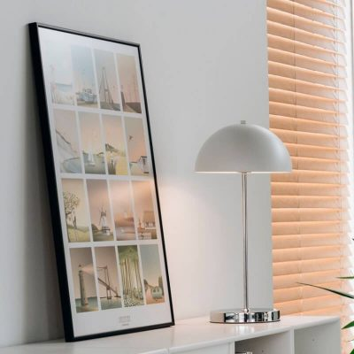 DYBERG LARSEN - GARDA oplaadbare draadloze tafellamp wit-chroom - 7075