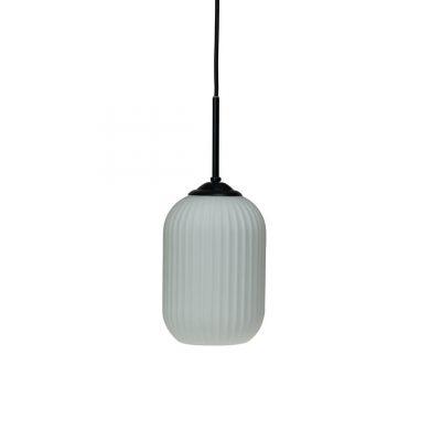 DYBERG LARSEN - RIFLET Hanglamp matzwart en melkglas SMALL - 7105